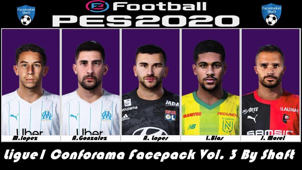 فیس پک ورژن 3 لیگ 1 فرانسه توسط Shaft برای PES 2020